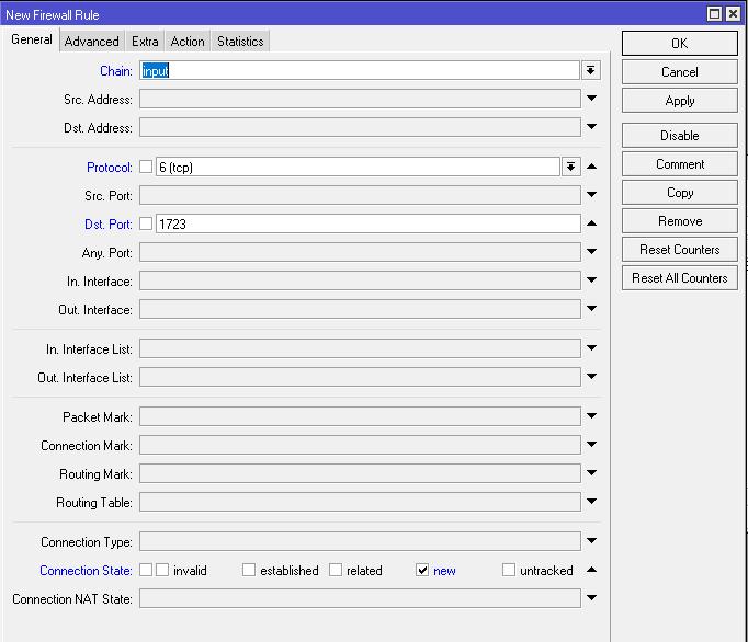 Правило для TCP порта 1723