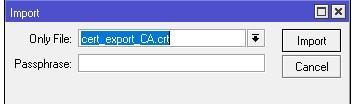 Импорт сертификата CA OpenVPN