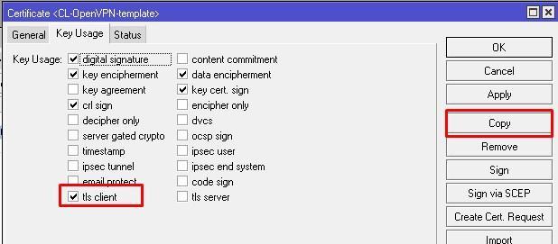 Параметры OpenVPN Client шаблона