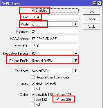 Параметры OpenVPN сервер по пользователю и паролю