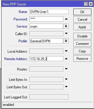 Параметры пользователя OpenVPN