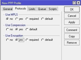Параметры профиля OpenVPN Server