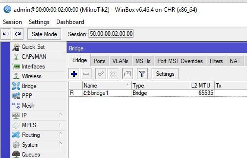 Создание bridge на свитче Mikrotik2
