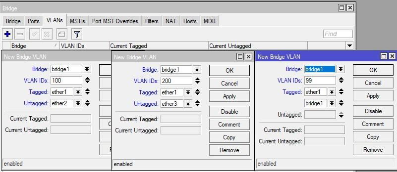 Указываем порты для VLAN 100, 200 и 99