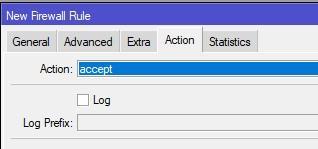 Действие правила для Winbox SSH