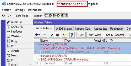 Полученные настройки CAP для hAP