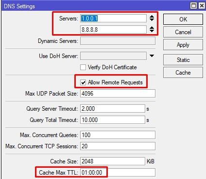 Расширенная настройка DNS сервера на Mikrotik