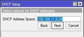 Задаем адресное пространство DHCP сервера на WiFi интерфейсе