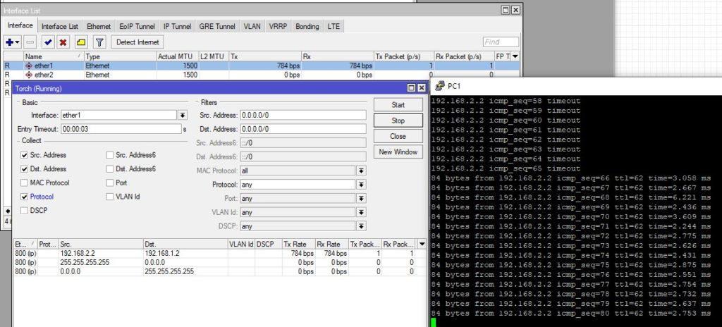 Проверяем передачу данных между сетями R1 и R2