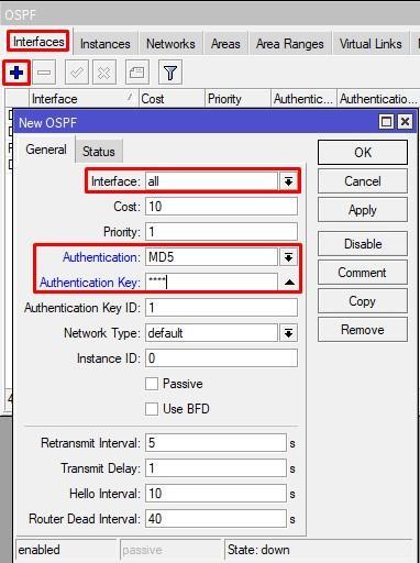 Настройка безопасности OSPF