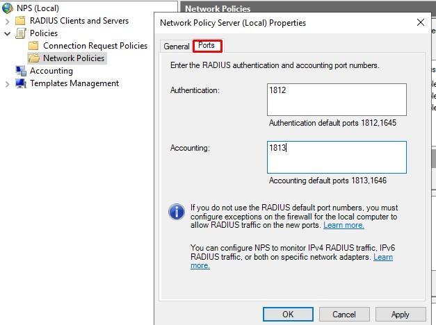 Оставляем только по одному порту NPS сервера