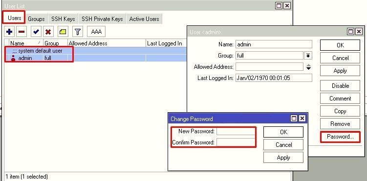 Окно смены пароля текущего пользователя winbox