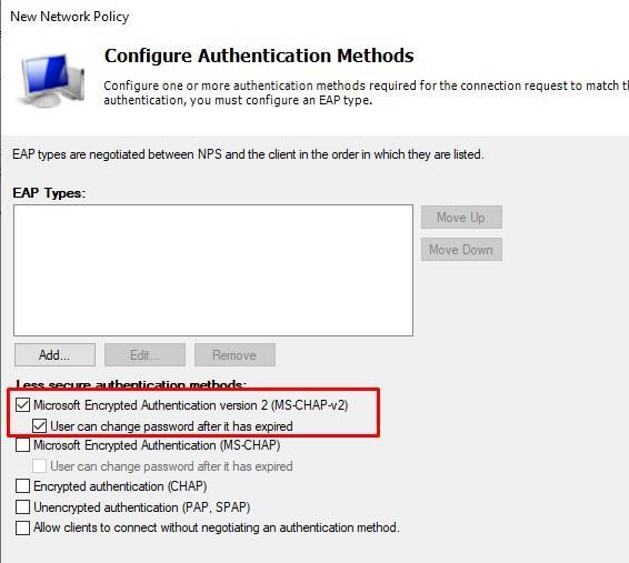 Выбор метода безопасной аутентификации MS-CHAPv2