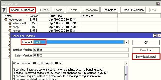 Обновляем прошивку 6.48.2 в канале Stable