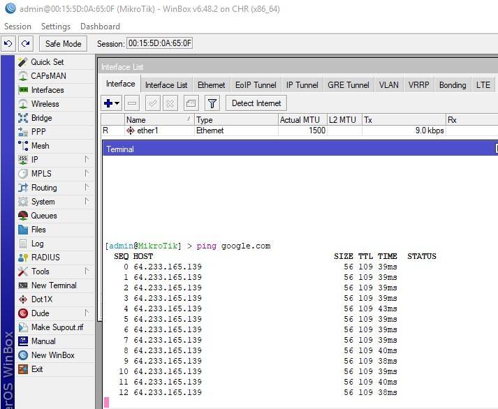 Тестируем доступ в интернет с Cloud Hosted Router на Hyper-V