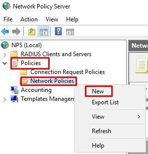 Новая политика сервера доступа сети