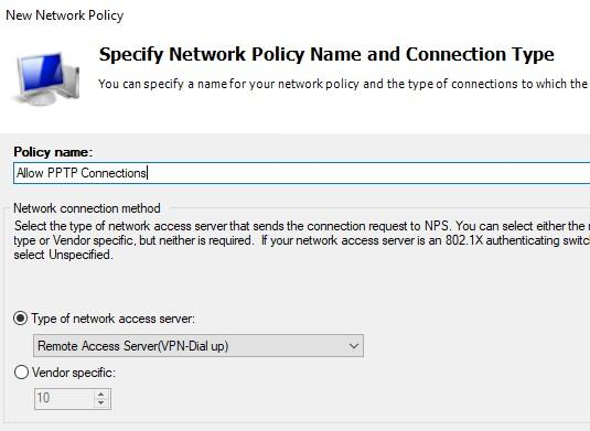 Имя политики и тип сетевого доступа