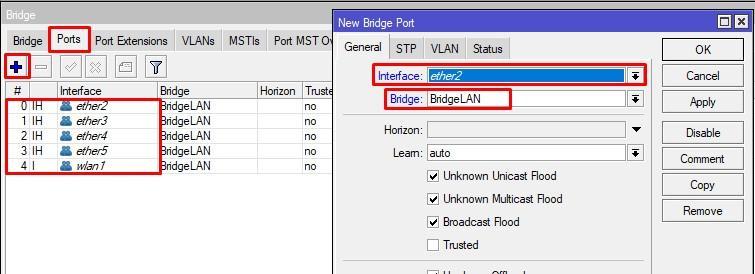 Add ports to bridge