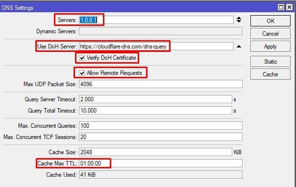 DNS over HTTPS на Mikrotik настройка