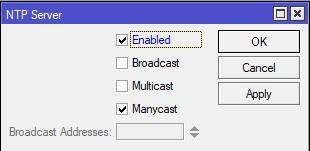 Настройка сервера NTP на Mikrotik