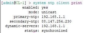 Динамический адрес NTP сервера и успешная синхронизация