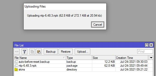 Загрузка файлов и пакетов в микротик