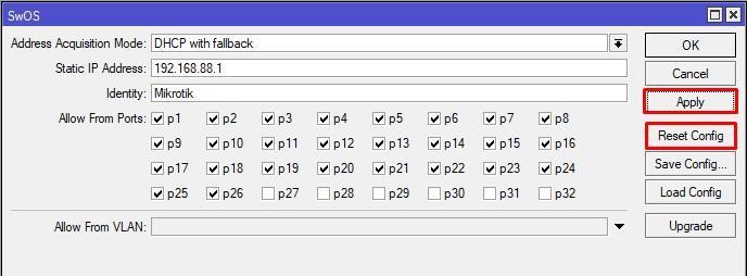 Reset Configuration SwitchOS