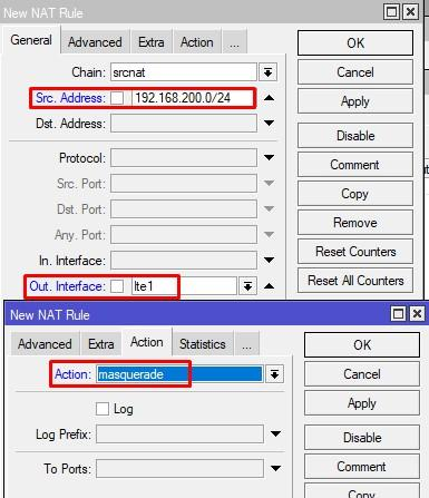 NAT правило через lte1 интерфейс